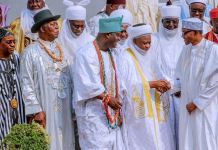 President Muhammadu Buhari members of the National Council of Traditional Rulers, led by the Sultan of Sokoto, Alhaji Muhammad Sa'ad Abubakar III, and the Ooni of Ife, Oba Adeyeye Ogunwusi Ojaja II, on a congratulatory visit.