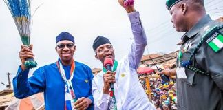 Prince Dapo Abiodun and Vice President Yemi Osinbajo during a campaign rally in Ogun