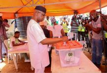 Prince Dapo Abiodun casting his ballot on Saturday during the governorship election