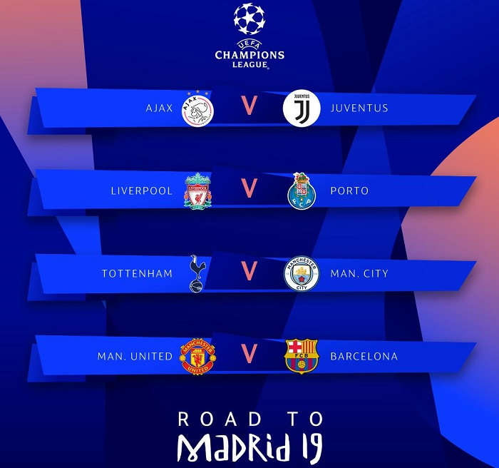 #UCLdraw Tottenham has been drawn against Manchester City while Manchester United will play Barcelona