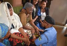 Commissioner of Police, Lagos State, CP Zubairu Muazu condoling mother of Kolade Johnson