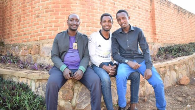 Jean Paul,(left), Ibrahim (centre) and Oswald are determined to support each other and other genocide orphans