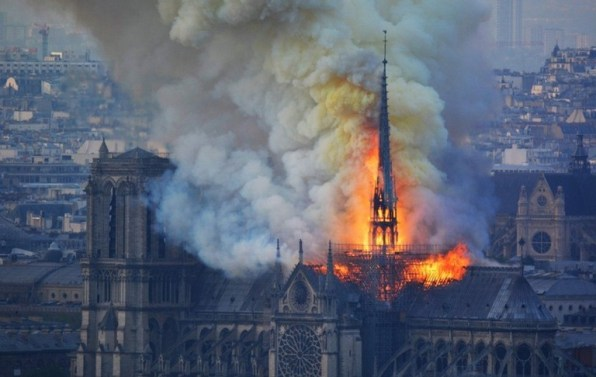 The Notre-Dame Cathedral on fire