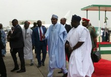 Buhari welcomed by Gov Ambode on arrival