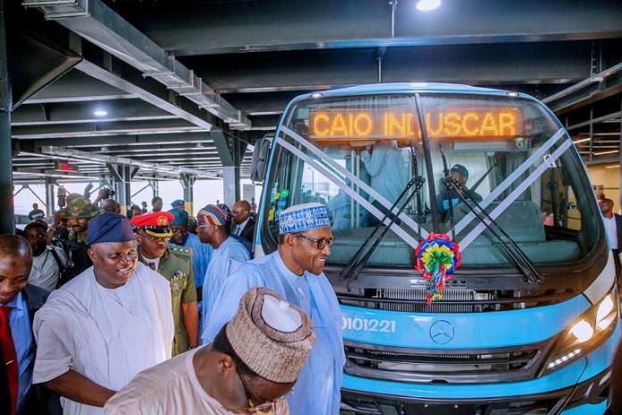 Buhari at the Oshodi bus terminal