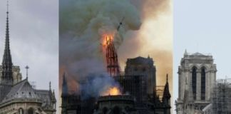 The cathedral's spire, before, during the fire and after