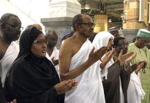 President Muhammadu Buhari performs Umrah at the Masjid Haram (Grand Mosque) in Makkah, Saudi Arabia