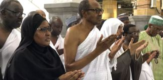 President Muhammadu Buhari performs Umrah at the Masjid Haram (Grand Mosque) in Makkah, Saudi Arabia