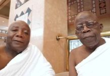 Asiwaju Bola Tinubu, right in Makkah, with Hakeem Fahm, Commissioner for Science and Technology in Lagos State
