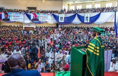 Vice President Yemi Osinbajo delivering his speech at the 23rd convocation of the Lagos State University, LASU.