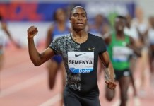 Semenya crossed the finish line 2.77 seconds ahead of second-placed Francine Niyonsaba