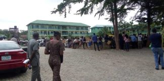 Applicants waiting to write the NNPC Computer Based Test in Kuje