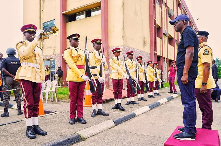 Governor Babajide Sanwo-Olu, inspecting the guard of honour during his visit to the LASTMA Yard, Oshodi