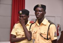 Two LASTMA Officers paraded for alleged extortion at a press conference in Lagos House, Alausa, Ikeja