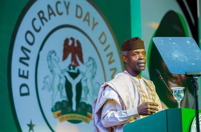 Vice President Yemi Osinbajo addressing foreign hosts during the Democracy Day Dinner Gala Night