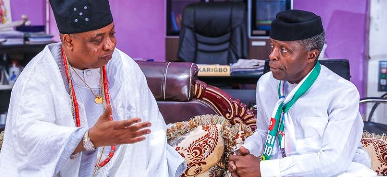 Vice President Yemi Osinbajo with Akarigbo of Remo land, Oba Babatunde Adewale Ajayi at the palace of Oba Akarigbo of Remo land