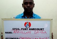 Abdullahi Dauda was one of the nine persons arrested for illegal oil dealings