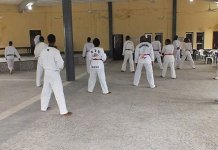 Nigerian Taekwondo athletes during a training session