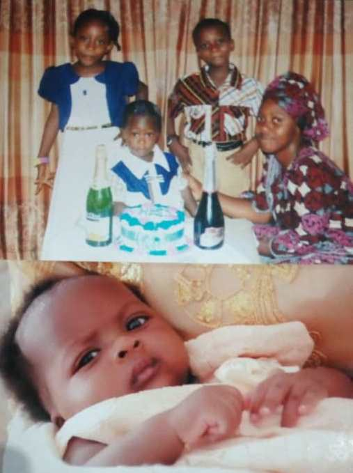 Pastor Isaac Pada's wife and his children in two family pictures provided by him