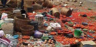 Scene of the clash in Ilepo market in Lagos state