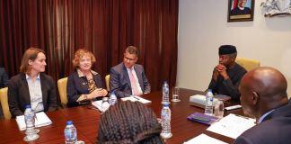 VP Osinbajo receives (L-R) UK Secretary of State for International Development, Hon. Alok Sharma; High Commissioner to Nigeria, Catriona Laing, Head of DFID Nigeria; Debbie Palmer