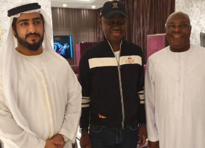 Alhaji Atiku Abubakar (right), Timi Frank and an unidentified associate in Dubai
