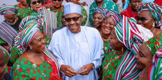 President Muhammadu Buhari with APC women leaders