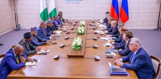 President Buhari and President Putin sign bilateral agreements in Sochi, Russia