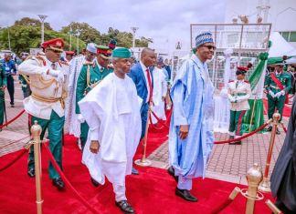 President Muhammadu Buhari and Vice President Yemi Osinbajo during the 59th Independence Day celebration in Abuja on 1 October4