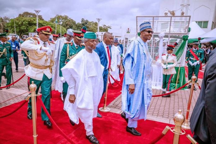President Muhammadu Buhari and Vice President Yemi Osinbajo during the 59th Independence Day celebration in Abuja on 1 October4