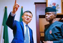 Alibaba chairman, Jack Ma and Vice President Yemi Osinbajo of Nigeria