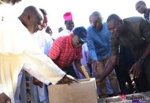 Chief Olusegun Obasanjo laying the foundation stone for the Catholic Special Children School in Benue