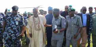 Communications Minister Lai Mohammed and senior Customs officials