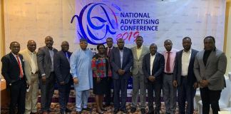 Acting Registrar, Advertising Practitioners Council of Nigeria (APCON), Mrs. Ijedi Iyoha (sixth from left), flanked by representatives of Advertising sectoral groups at the press conference announcing the National Advertising Conference press conference, held in Lagos on Wednesday.