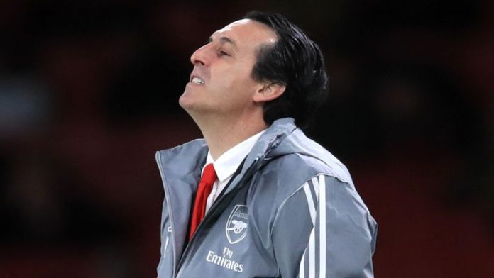 Arsenal manager Unai Emery saw his side lose to Eintracht Frankfurt