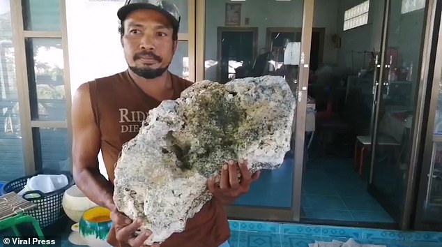 Beach scavenger Surachet Chanchu found a whale vomit