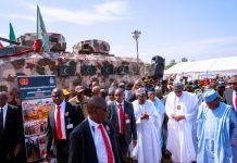 Buhari unveils indigenous mine-resistant military vehicles