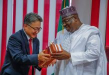 President of the Senate, Ahmad Ibrahim Lawan with the President and Chief Executive Officer of Hyundai Engineering and Construction Company, Chang Hak Kim, during the courtesy visit of Hyundai Engineering President/CEO to the Senate President at the National Assembly, Abuja, on Wednesday, December 18, 2019.