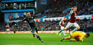 Jamie Vardy wheels away after putting Leicester City in front