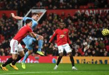 Chris Wood scored the opener for Burnley against Manchester United at Old Trafford