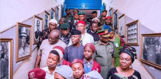 Vice President Yemi Osinbajo accompanied by Governor Ikpeazu and others at the National War Museum, Umuahia, Abia State