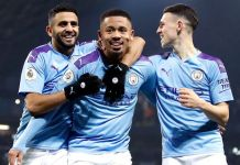 Gabriel Jesus scored twice as Manchester City beat 10-man Fulham