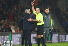 Jose Mourinho was shown the yellow card at Saint Mary's