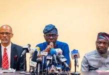L-R: Lagos Commissioner for Health, Prof Akin Abayomi; Governor Babajide Sanwo-Olu and Commissioner for Information and Strategy, Mr. Gbenga Omotoso, during a press briefing on the first case of Coronavirus in the State at Lagos House, Marina, on Friday, February 28, 2020.