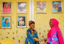 Patience Jonathan and First Lady Aisha Buhari at the Presidential Villa in Abuja on Tuesday