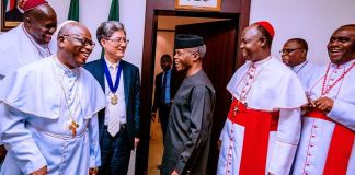 The World Methodist Council led by the President Rev. Dr. J.C. Park, and the Prelate of the Methodist Church of Nigeria, His Eminence, Samuel Kalu Uche visited Vice President Yemi Osinbajo