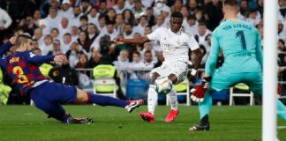 Vinicius Jr put Real Madrid in the lead after a deflection from Pique beat Ter Stegen