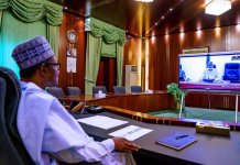 President Muhammadu Buhari teleconferencing with members of the Presidential Task Force on COVID-19