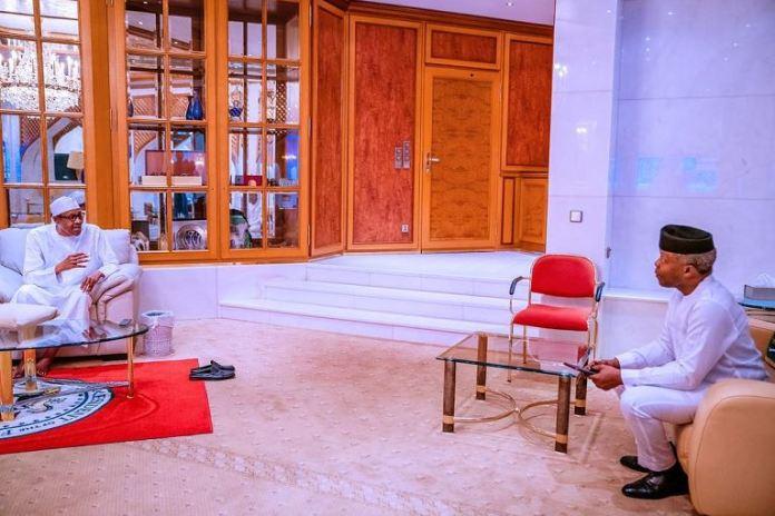 Vice President Yemi Osinbajo briefing President Muhammadu Buhari on the work of the Economic Sustainability Committee