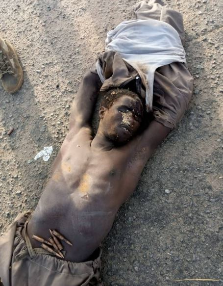 A Boko Haram fighter killed by Nigerian troops in Borno